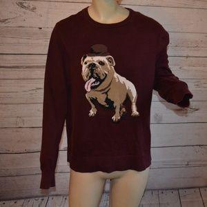 Merona Maroon Red Bulldog Knit Sweater Size M